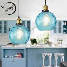 Lampe Loft en verre, couleur bleue, moderne E27, lampe suspendue nordique vintage, avec 3 tailles, pour chambre à coucher, hall, restaurant, bureau, pendentif lumineux LED