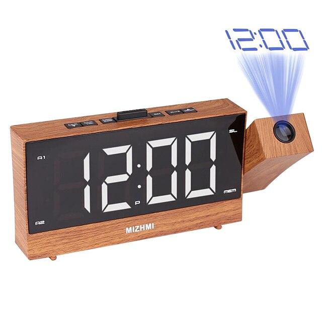 הקרנת רדיו שעון מעורר LED הדיגיטלי שולחן שולחן שעון נודניק פונקצית מתכוונן מקרן FM רדיו עם שינה טיימר