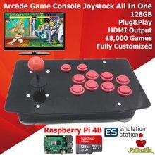 RAC S400 레트로 아케이드 게임 콘솔 조이스틱 스틱 모든 라즈베리 파이 4 모델 B 4GB 128G 플러그 플레이