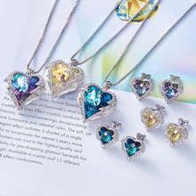 Set Women's Heart Shaped Crystal Pendant Necklace