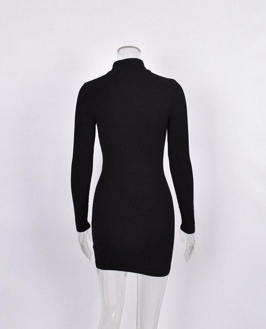 New Women's Wear Short Sexy Black Dress High Collar Long Sleeve 5