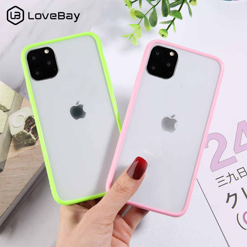 Lovebay Candy Kleur Shockproof Phone Case Voor Iphone 11 Pro X Xr Xs Max 7 8 6 6 S Plus transparante Harde Acryl Clear Back Cover