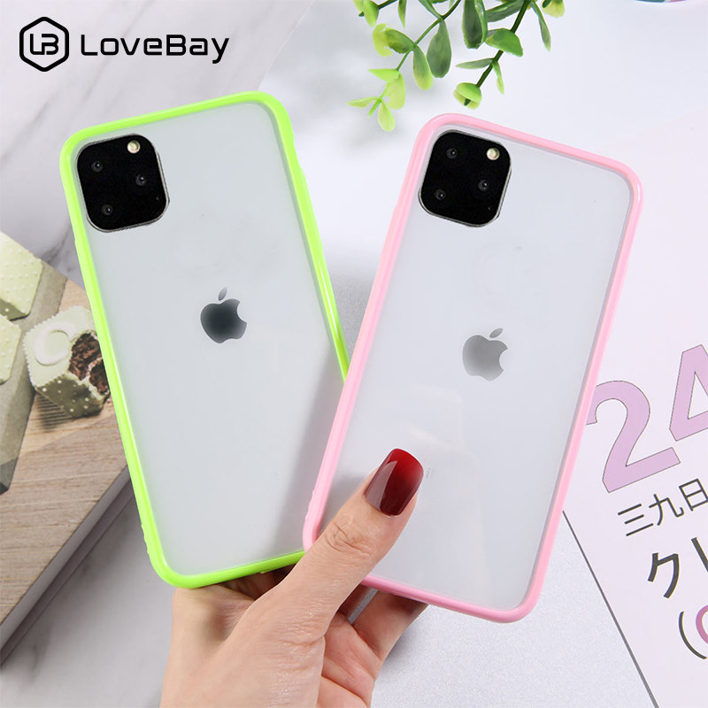 Lovebay Candy Color Shockproof Phone Case For IPhone 11 Pro X XR XS Max 7 8 6 6s Plus Transparent Hard Acrylic Clear Back Cover