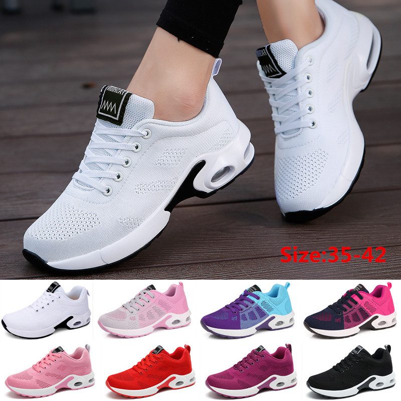 Fashion Women Lightweight Sneakers Outdoor Sports Breathable Mesh Comfort Running Shoes Air Cushion Lace Up