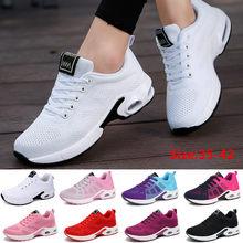 Moda kadın hafif spor ayakkabı açık spor nefes örgü konfor koşu ayakkabıları hava yastığı Lace Up