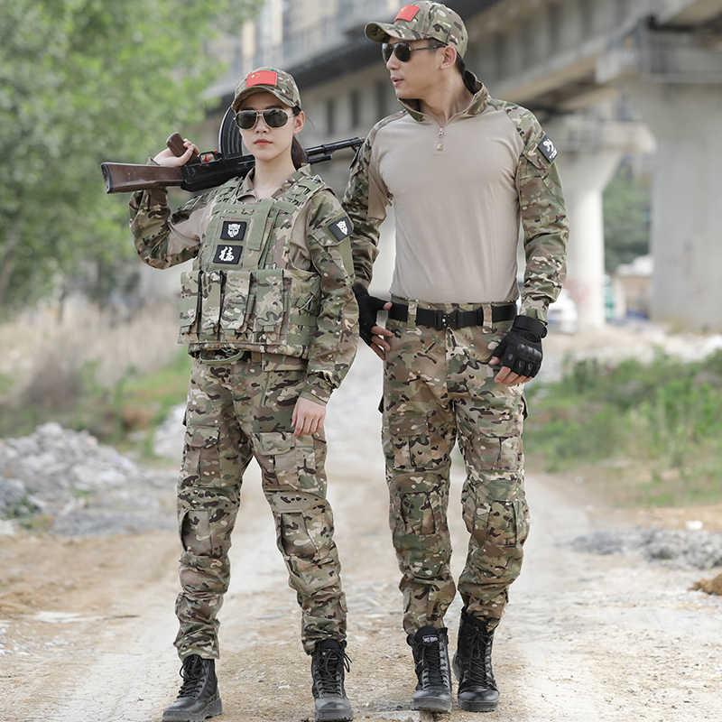 Cpu camuflagem roupas de caça ghillie terno dos homens das mulheres dos eua roupas do exército militar uniforme camisa combate caça carga calças joelheiras