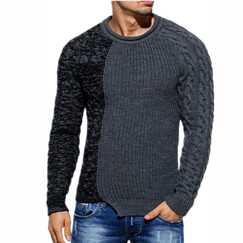 ZOGAA Autumn Casual Men's Sweater O-Neck Patchwork Slim Fit Knitwear Mens Sweaters Pullovers Male Pull Homme Sweater Tops S-3XL