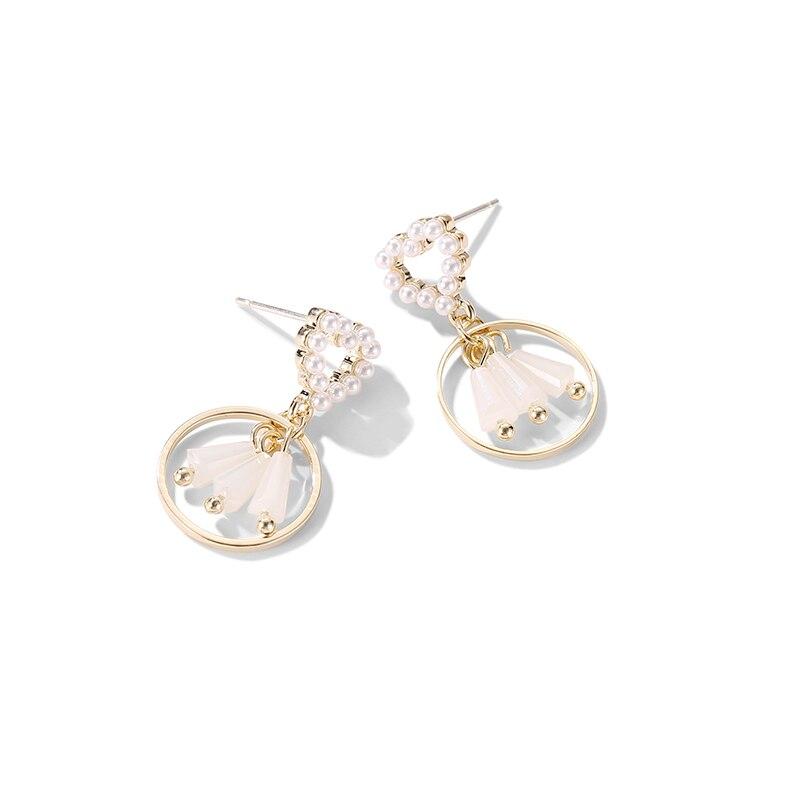 new simple love pearl earrings female Korea Joker temperament pendant korean  long