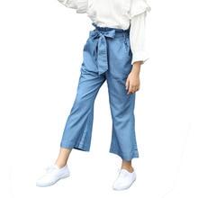 Children Denim Pants 2019 Spring Autumn Girls Solid Cowboy Wide-leg Pants Kids Fashion Kids Trousers Baby Girls Leggings цена и фото