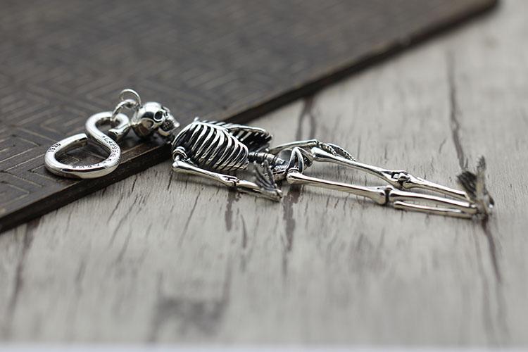 S925 sterling silber schlüssel ring Retro persönlichkeit hip hop schädel einzigartige tasche taste Thai silber punk schlüssel kette Senden liebhaber geschenk - 3