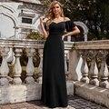 Женское вечернее платье с открытой спиной, черное ТРАПЕЦИЕВИДНОЕ ПЛАТЬЕ на бретелях-спагетти с V-образным вырезом, длинное официальное плат...