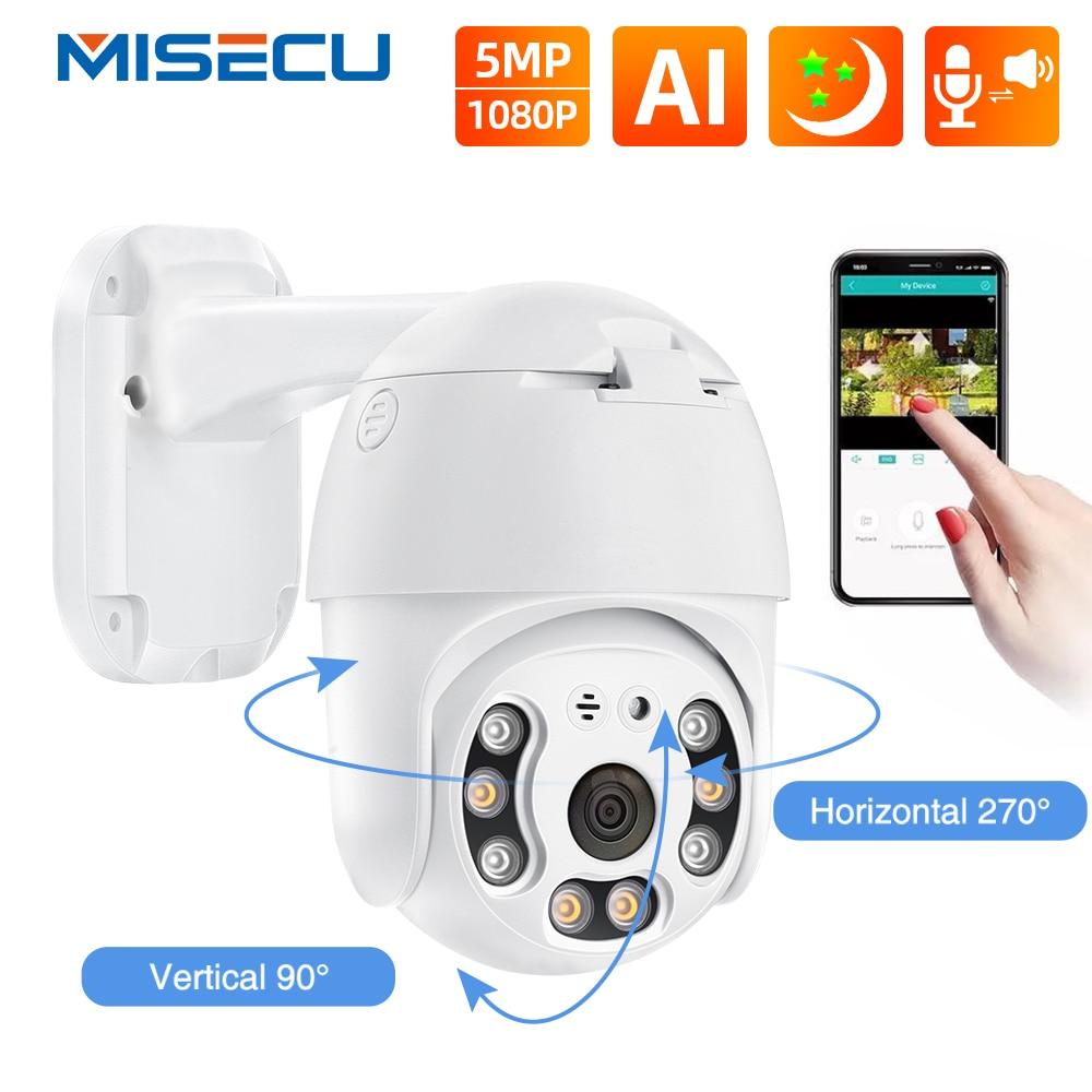 MISECU 5MP POE IP Камера 1080P PTZ купольная Камера Смарт Ai полный Цвет ночное человека обнаружения на открытом воздухе Поддержка Onvif TF карты для POE Набо...