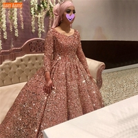 Sexy Pink Wedding Gowns 2020 Dubai Sequin Sparkle Ball Gown Arabic Long Sleeve Bridal Dresses Lace Up Custom Made Robe De Mariee