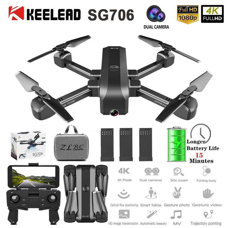 SG706 RC Drone 4K HD Dual Camera WIFI FPV Foldable Drone profissional 50X Zoom camera Quadcopter Optical Flow Dron VS M69G SG106(China)