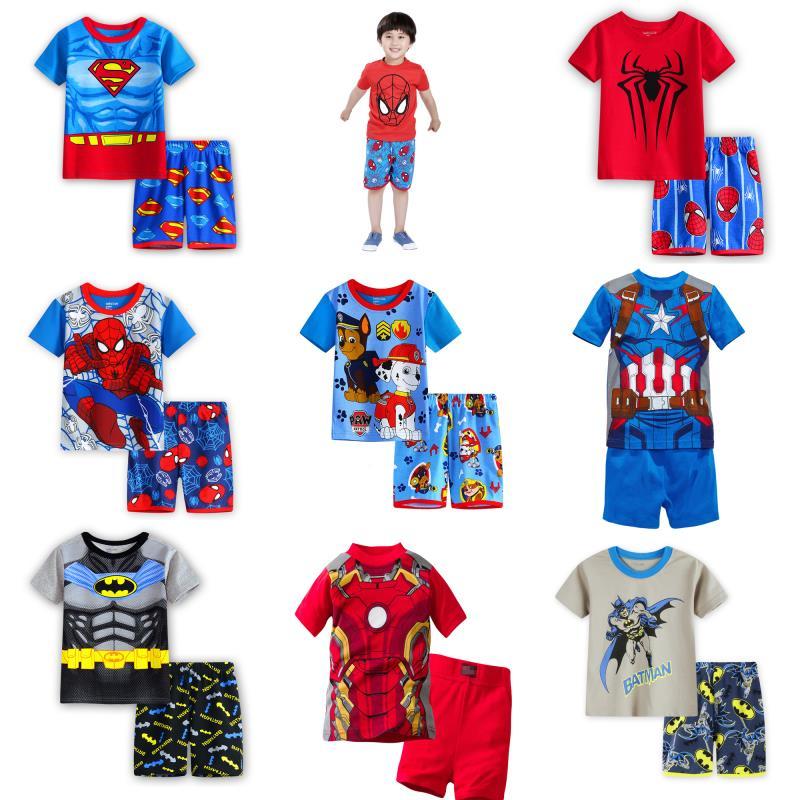 Hildren's Pajamas Summer Short-sleeved T Shirt + Shorts Sports Set Kids Pyjamas Boys Girls Pajamas Baby Sleepers Sleepwear 2-7T