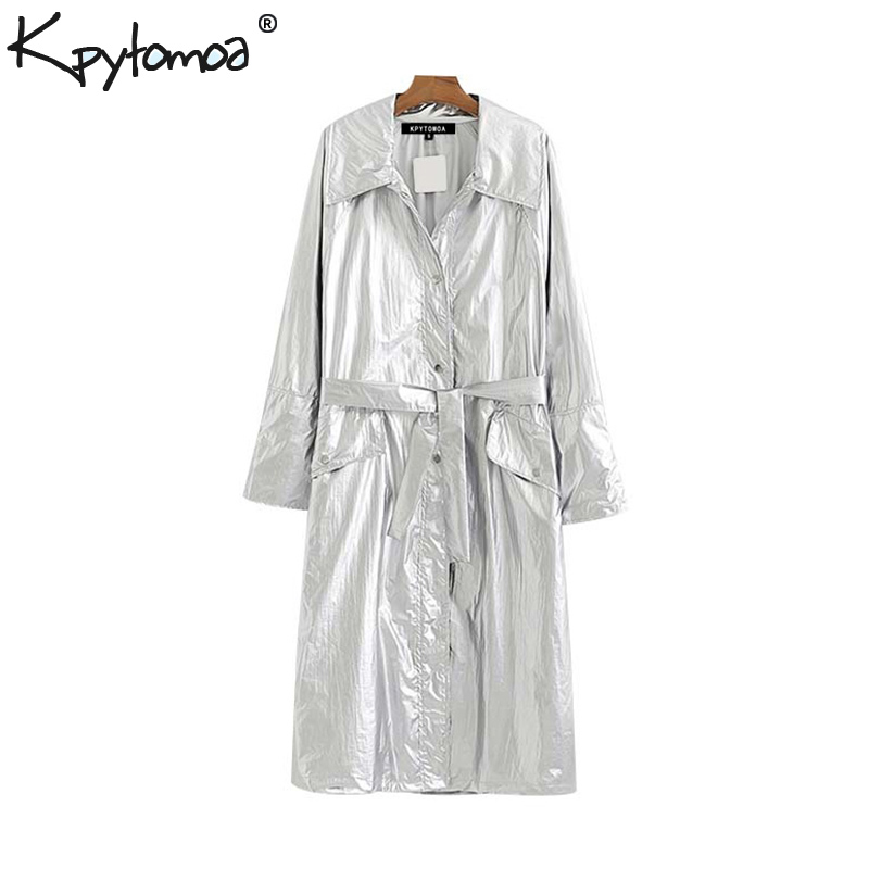 Vintage Stylish Pockets With Sashes Shiny Loose Long Trench Coat Women 2019 Fashion Lapel Collar Long Sleeve Chic Outerwear Ropa