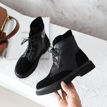 Women Martin Boots 2019 Fashion Patchwork Lace-up Female Zip-up Ankle J527