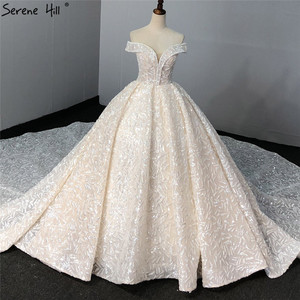 Image 1 - Sequined Sparkle Off Shoulder Bride Gown 2020 Ivory Luxury Vintage Sleeveless Sexy Wedding Dresses BHA2317 Couture Dress