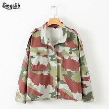 2019 high street jacket women vintage oversize camouflage print twill cargo single breasted turn-down collar