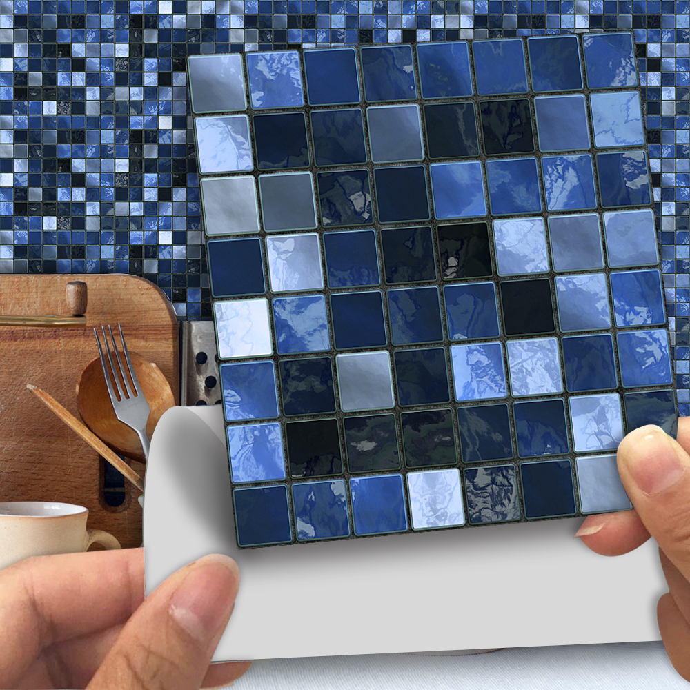 10cm/15cmx25pcs Blue Mosaic PVC Waterproof Self Adhesive Wall Sticker Tile Sticker For Kitchen Bathroom Furniture SJ008