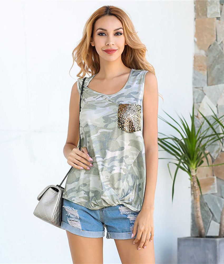 Sequined Pocket   Tank     Top   Summer Sleeveless   Top   Women Camouflage   Tanks   2020 New Flowers Tee Female Tie   Tank     Top   Lady Loose Camis