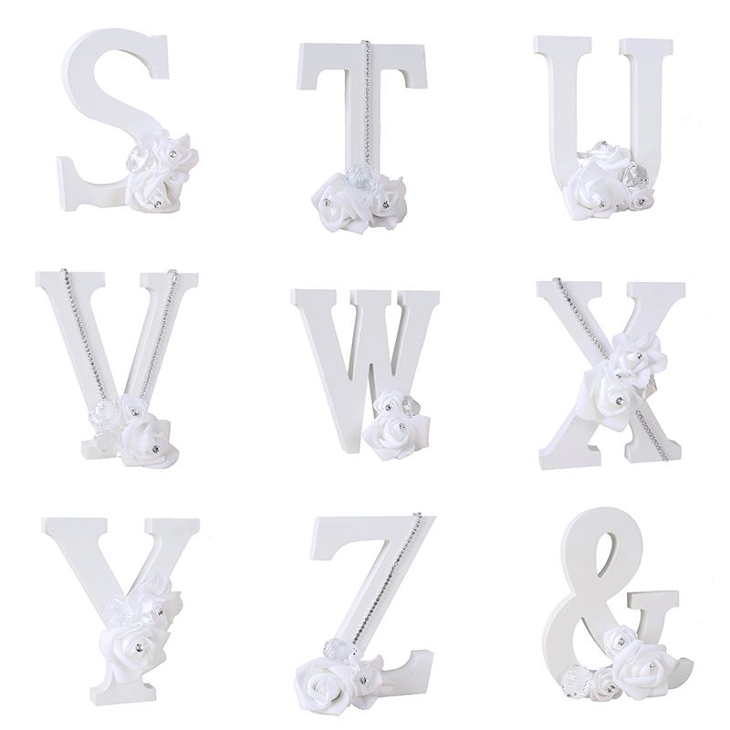 1Pcs White Letter Flower Letter Card Wood Material DIY White Letter Word Home Decoration Wedding Accessories
