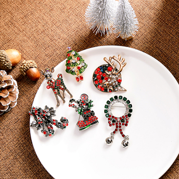 kissme 2020 New Christmas Brooch Walking Stick Elk Boots Rhinestone Sweater Coat Pins Santa Claus Fashion Jewelry Clearance Sale image