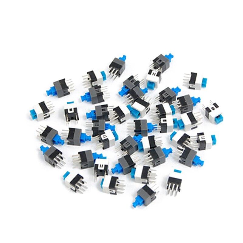 20 piezas de bloqueo 7x7mm Mini Interruptor de bot/ón t/áctil On-Off DIP-6pins Multicolor