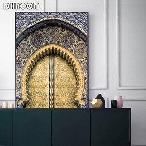 Image 4 - Marokkanischen Tür Wand Kunst Gold Quran Arabische Kalligraphie Leinwand Panting Islamischen Architektur Poster Drucken Wand Bilder Boho Decor