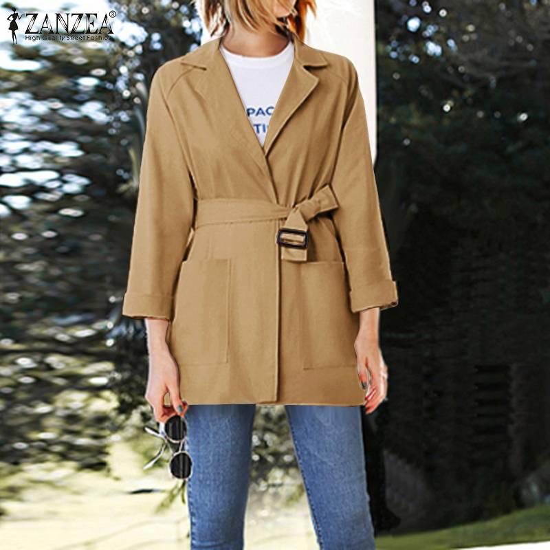 ZANZEA 2020 Vintage Office Lady Work Blazers Women Elegant Belted Blazers Fashion Lapel Neck Coats Solid Jackets Sping Outwear