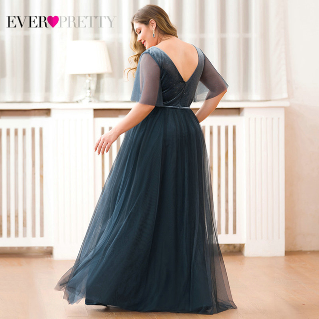 Plus Size Sparkle Velour Evening Dresses Ever Pretty EP00889DN Deep V-Neck Short Sleeve Tulle Evening Gowns Robes Soiree 2019 2