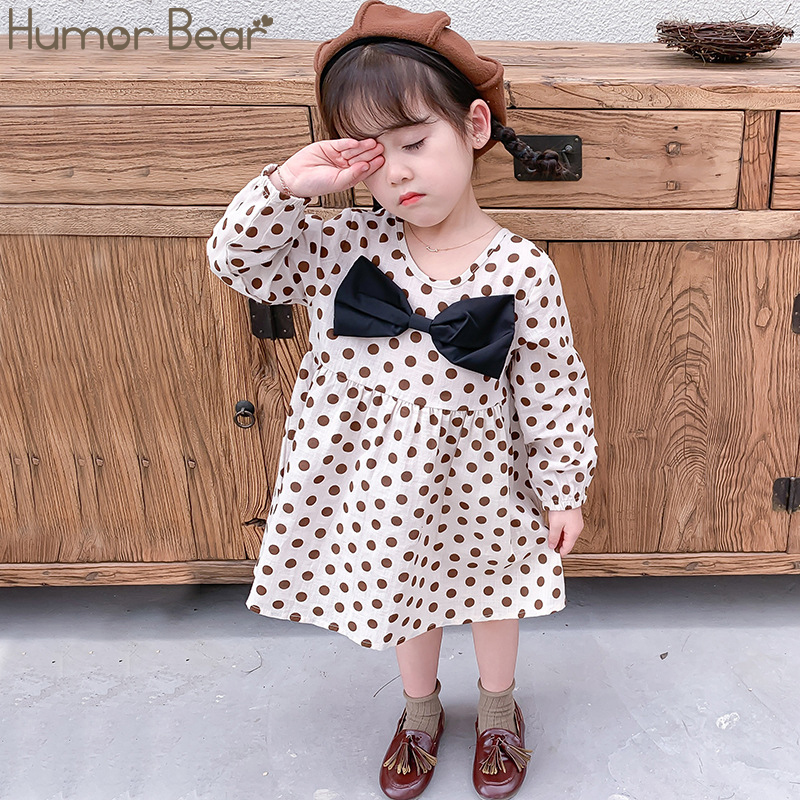 Humor Bear Fashion Kids Clothes Girl Plaid Doll Collar Long Sleeve Dress Children Princess Dresses Baby Girls Clothing Outfits 4