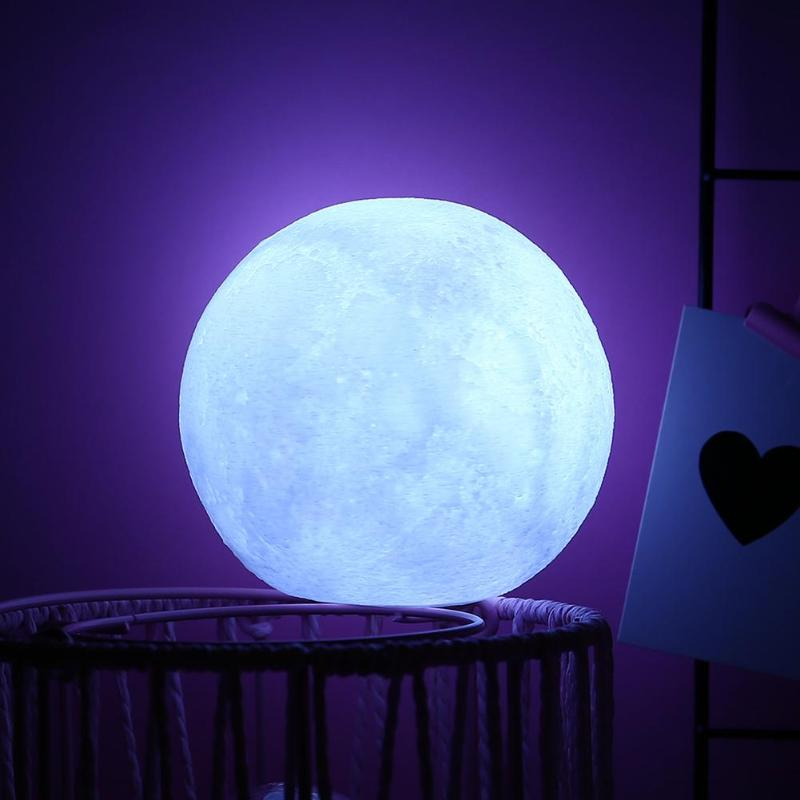 Silicone Moon Lamp White LED Night Light Battery Operated Home Bedroom Decoration Children Kids Gift
