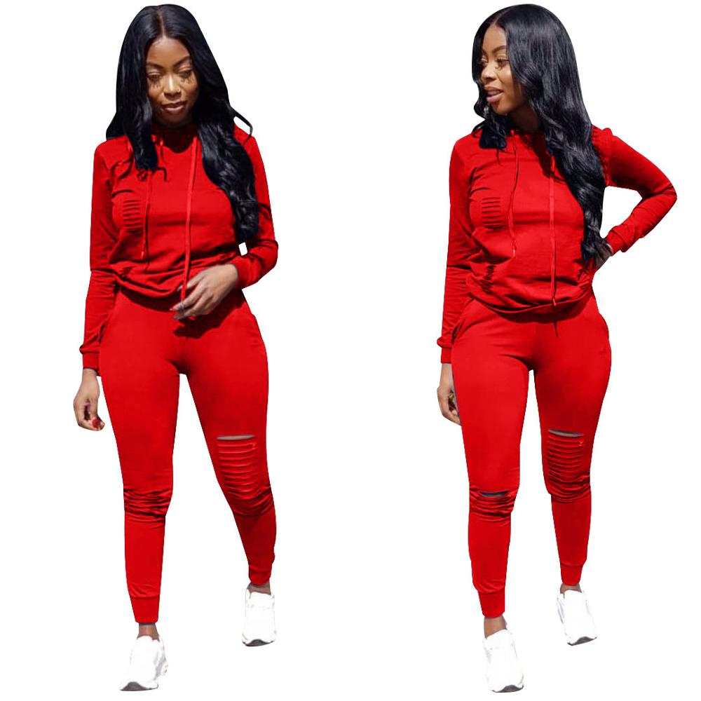 Ladies Autumn And Winter Leisure Plus-size Set Popular Best-selling Fashion Sports Sexy Pure Color Slim Hooded Collar