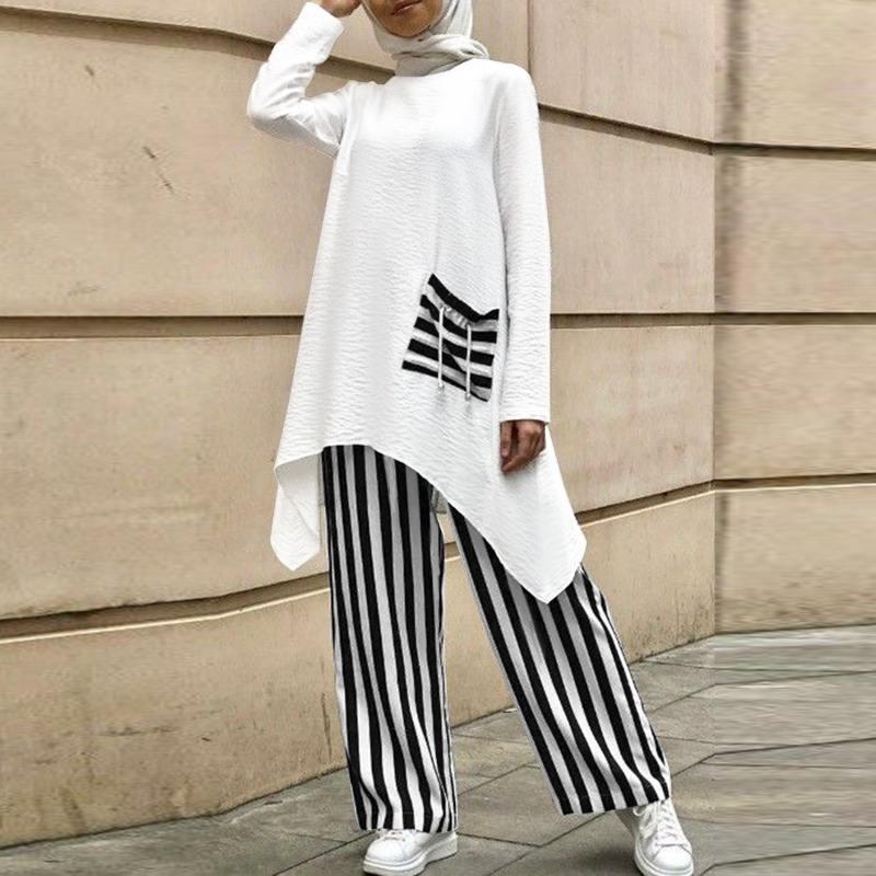 ZANZEA Women Muslim Fashion Long Sleeve Kaftan Tunic Tops High Elastic Waist Pants Abaya Turkey Hijab Suits Holiday Muslims Sets