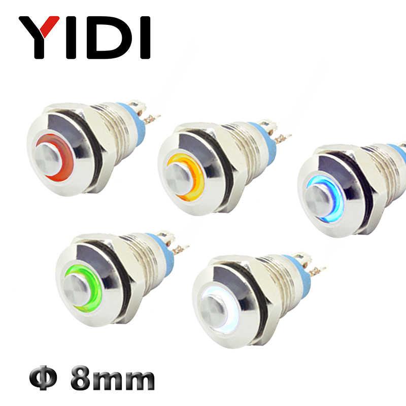 8mm bouton poussoir en métal interrupteur ON OFF laiton haute tête anneau LED éclairé 3V rouge vert bleu LED 1NO bouton-poussoir momentané interrupteur