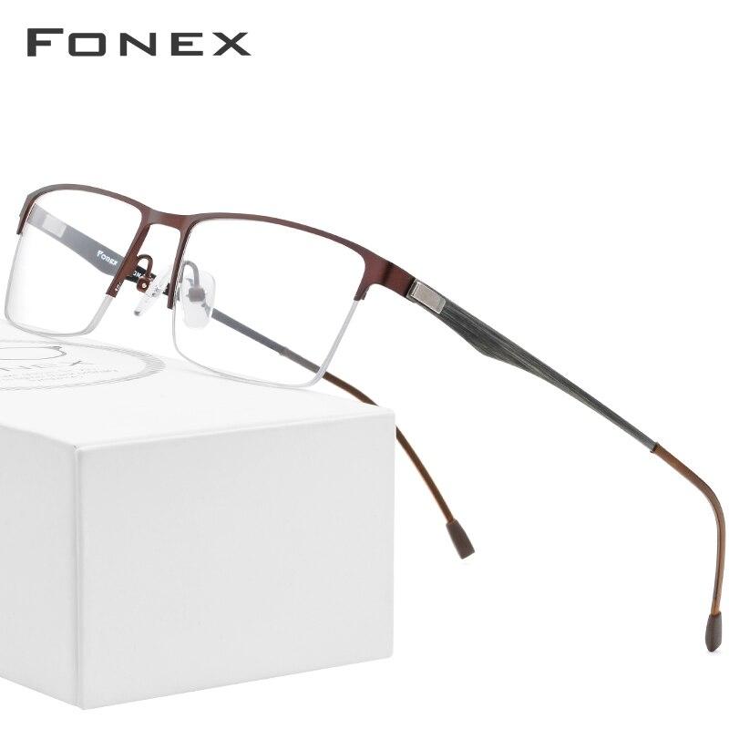FONEX Semi Rimless Alloy Glasses Men Half Square Myopia Prescription Eyeglasses Frame Optical Screwless Eyewear 9838