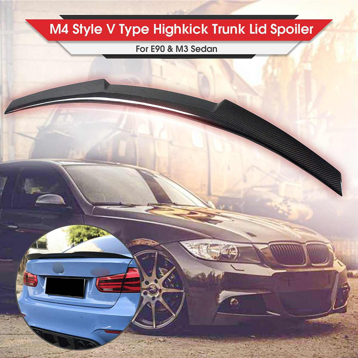 New M4 Style V Type Real Carbon Fiber E90 Car Rear Trunk Boot Lid Spoiler Wing For BMW E90 325i 328i 3 Series Sedan 2006-2011 image
