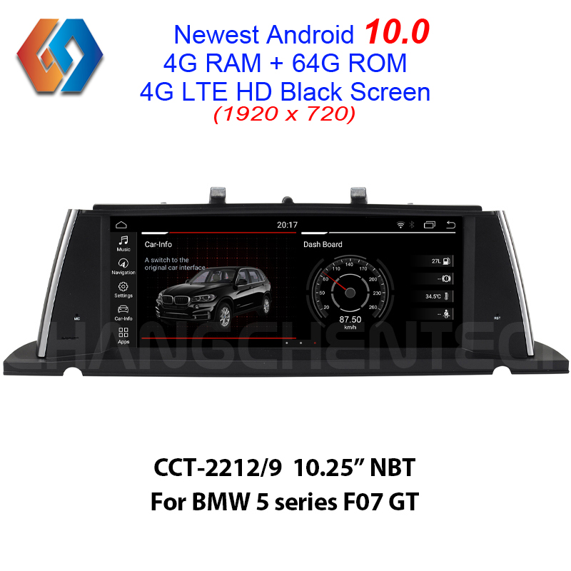 Pour BMW série 5 F07 GT NBT multimédia Android 10.0 HD noir tactile 1920x720 voiture GPS Navigation 64G rom intégré CarPlay BT WiFi