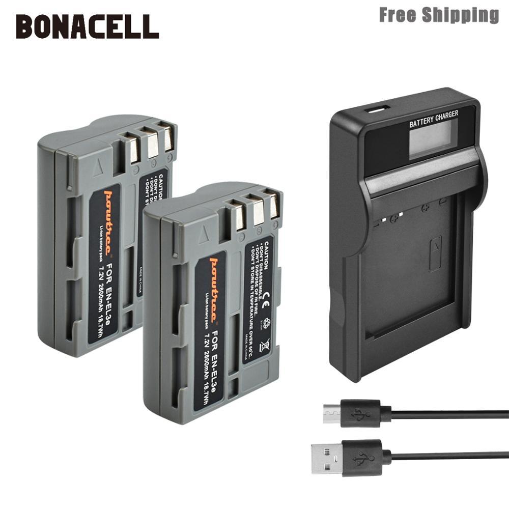 Bonacell 2600mAh EN-EL3e EN EL3e EL3a ENEL3e Bateria + Carregador de Bateria LCD para Nikon D300S D300 D100 D200 D700 d70S D80 D90 D5 L15