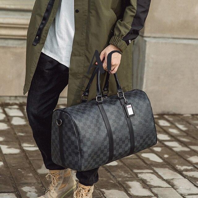 Fashion Travel Bag Men Women Classic PU Leather Luggage Bags Large Capacity Handbags Trip Shoulder Bags Black Plaid Bag Male Hot 1