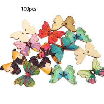 Mixed Multicolored Butterfly Wooden Buttons for DIY Sewing Crafts Scrapbooking Clothing Apparel Decoration Accessories 50pcs mixed color snails wooden buttons for craft clothing decorative diy scrapbooking buttons sewing accessories