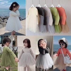 Image 2 - Girlsautumn elbiseler yabancı stil 2020 yeni çocuk prenses Pengpeng elbise ve bebek örgü elbiseler