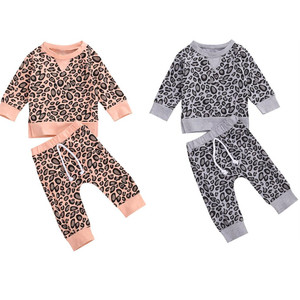 2Pcs Fashion Winter Fall Newborn Baby Clothes Set Leopard Print Long Sleeve Sweatshirts+Pants Toddler Infant Clothing Outfits