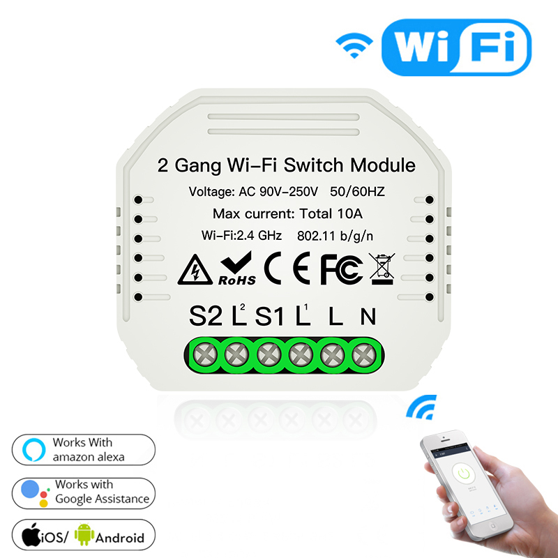 New 2 Gang Wi-Fi Switch Module For Amazon Alexa Google Home Assistance 2020 Smart Light Wifi Dimmer Switch Voice APP Controller
