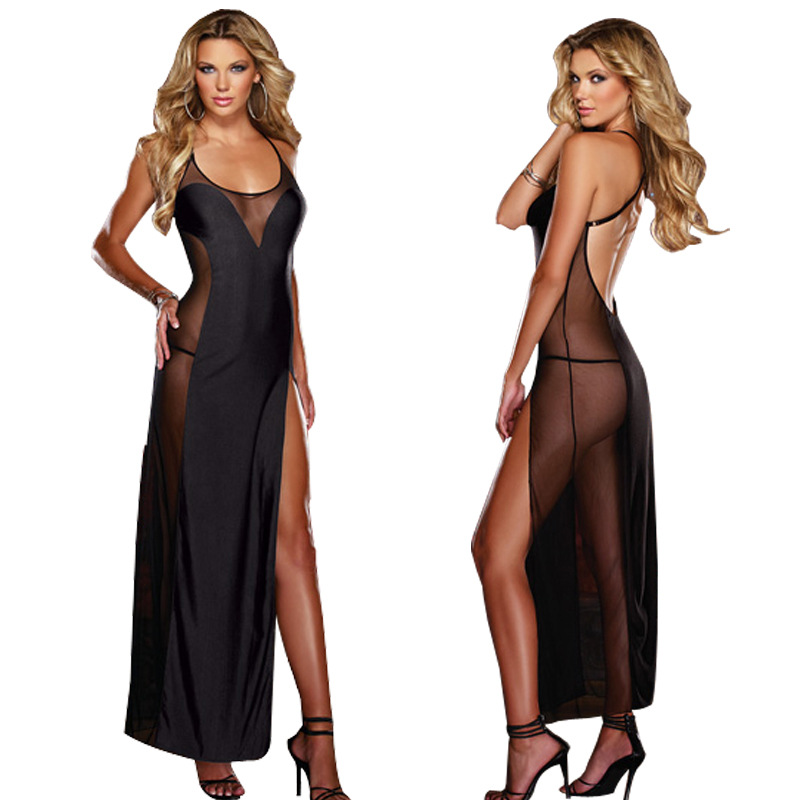 Hot New Black <font><b>Plus</b></font> <font><b>Size</b></font> XXL XXXL XXXXL <font><b>5XL</b></font> <font><b>6XL</b></font> <font><b>Sexy</b></font> Lingerie Nightgown Gown Long Babydoll Sleepwear,<font><b>Sexy</b></font> <font><b>Dress</b></font> For Sex <font><b>Clothing</b></font> image
