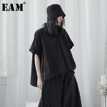 [EAM] Women Black Split Irregular Big Size Blouse New Lapel Half Sleeve Loose Fit Shirt Fashion Tide Spring Summer 2020 1U732