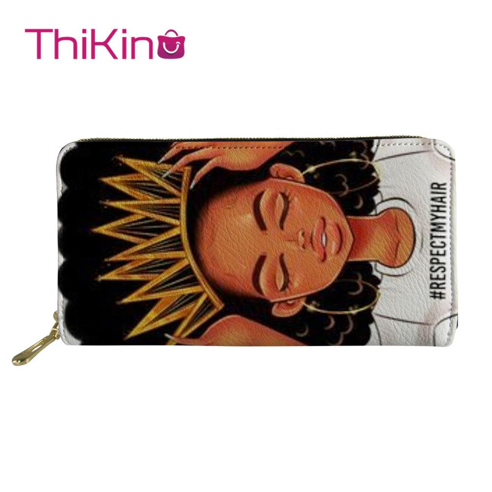 Thikin Afro American Princess Cool Girl Zipper Phone Bag Card Holder for Ladies Clutch Purse Carteira Handbags Notecase 2019