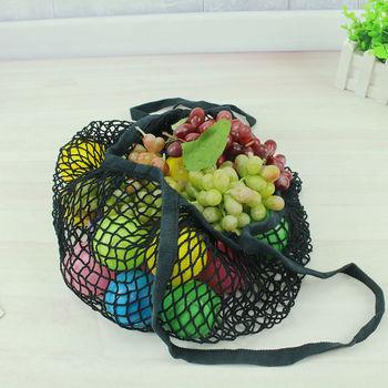 Large fishnet Reusable Fruit Shopping Bag String Grocery Shopper Cotton Tote Mesh Woven Net Bags