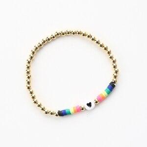 G.YCX африканские стильные виниловые дисковые бусины под заказ браслеты радужные эластичные Позолоченные тянущиеся браслеты в форме сердца DIY подарок для пары